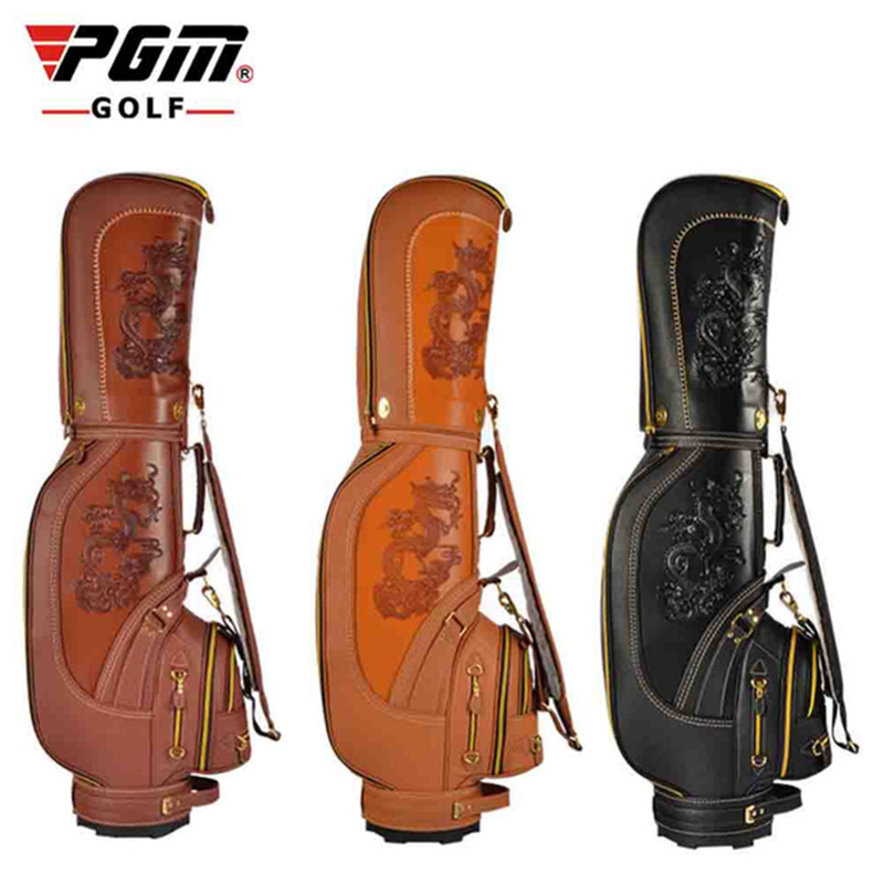 все цены на PGM Pu Leather Dragon Golf Club Bag Men Waterproof Durable Golf Standard Ball Bag Cover High Capacity Package High Quality D0087 онлайн