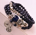 Arena azul Natural pulseras de ágata azul de la vendimia pulsera de las mujeres de moda de la moneda amuleto colgante de joyería al por mayor 0249