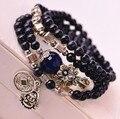 Natural blue sand bracelets blue agate beads vintage women bracelet fashion coin amulet pendant wholesale jewelry 0249