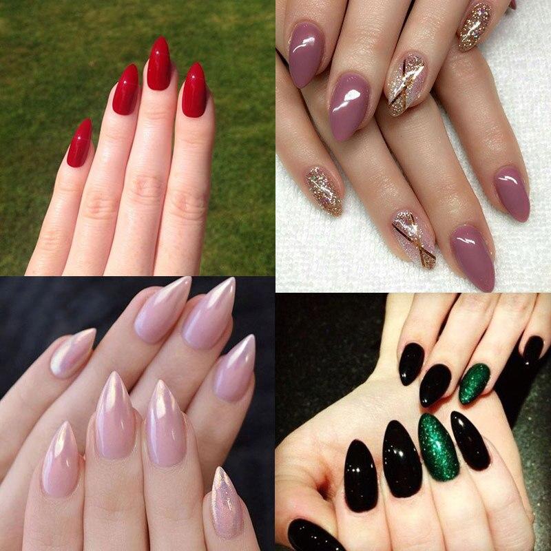 TKGOES 600PCS Oval Stiletto Pointed Short natural Artificial nail tips salon full false french nail art tips fake acrylic nails-in False Nails from ...