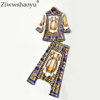 Ziwwshaoy2018 New High Quality Fashion Women's Set European Runway Designer Autumn Hip Hop Half Sleeve Print Shirt + Pants Suits