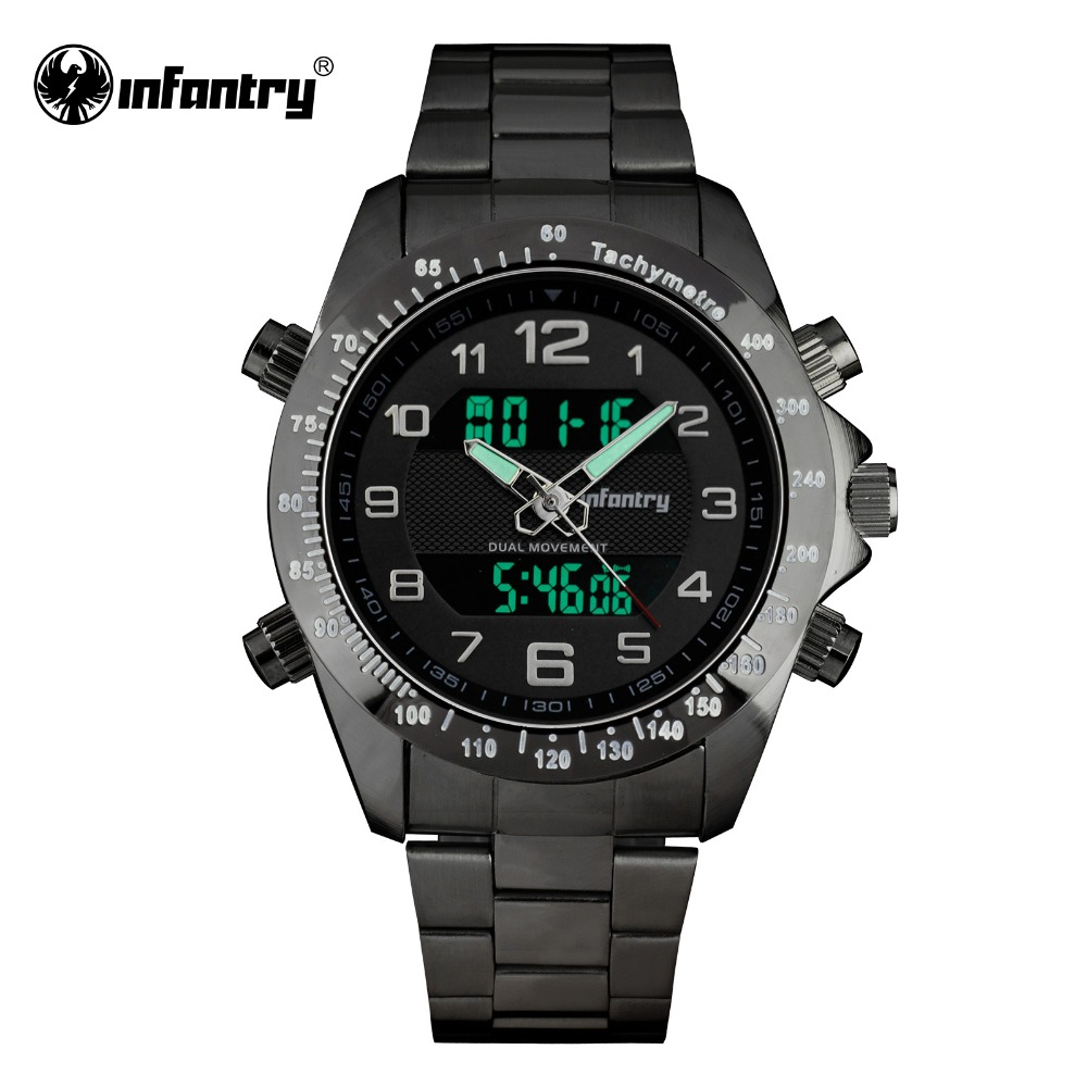 Prix pour INFANTRY Mens Numérique Quartz Montres Sport Double Temps Mâle Horloge Noir Montres De Luxe Marque Militaire Relogio Masculino