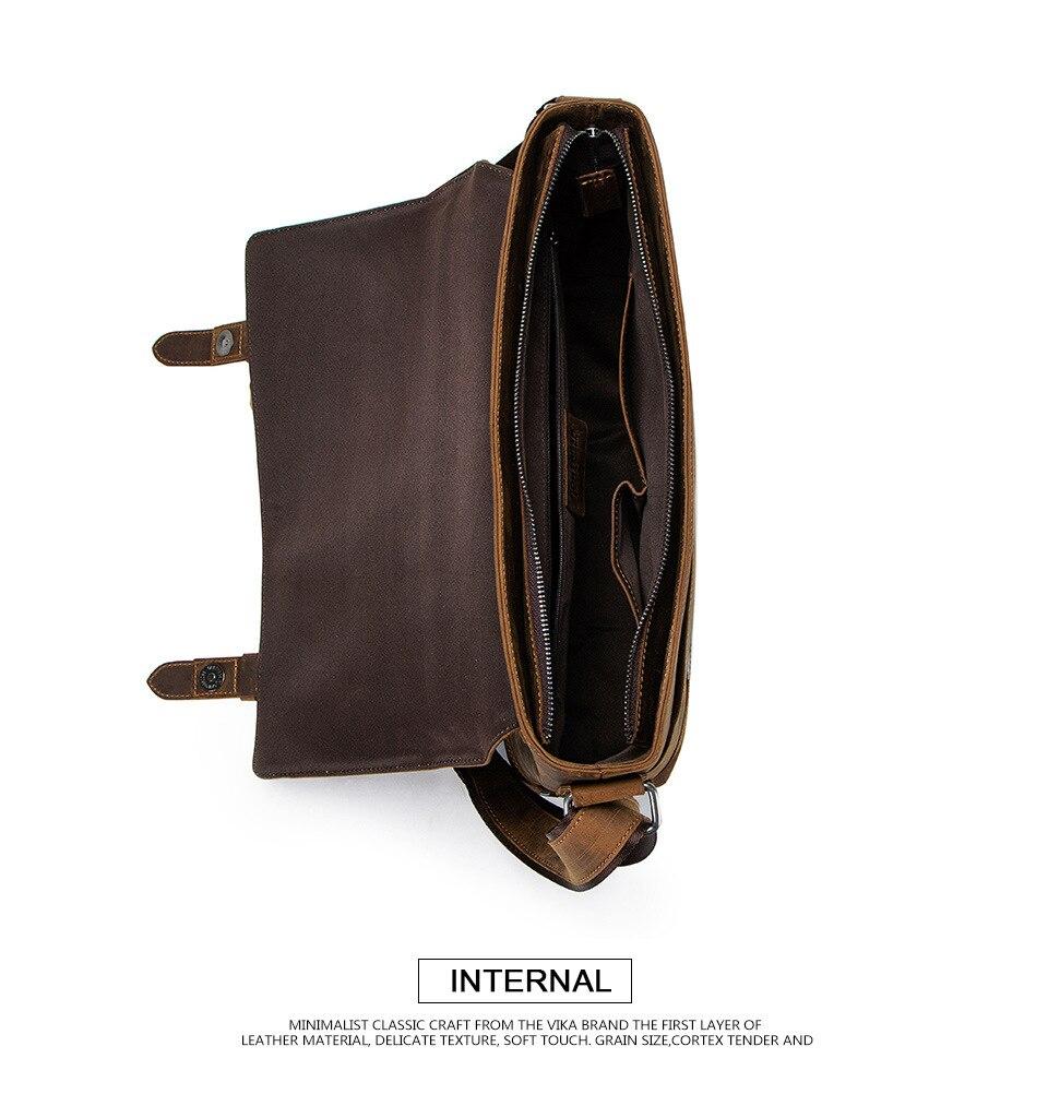 HTB10G0zaiLrK1Rjy1zdq6ynnpXan 100% Genuine Leather Briefcase Men Vintage Real Crazy Horse Leather Messenger Shoulder Business Laptop Bag Case Office Handbag