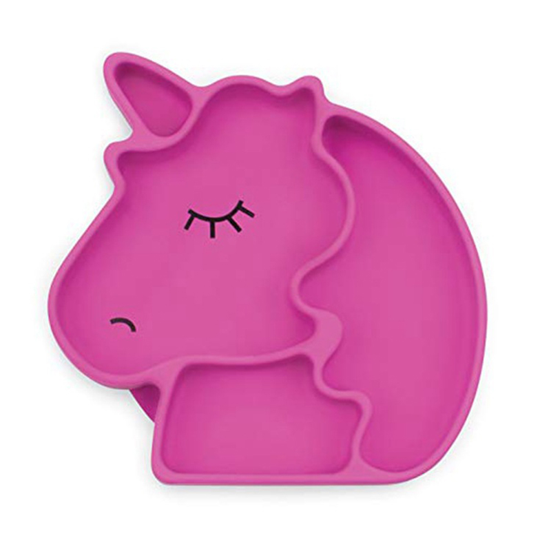 Baby Unicorn Silicone Dish Suction Feeding Plate For Baby Toddlers Non Slip Divided Tableware Plate Feeding Container Placemat