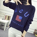 Kesebi 2017 Spring Summer Women Korean Students Long Sleeve T-shirts Female O-neck Letters Casual Loose Tops SJ1FA37#7013