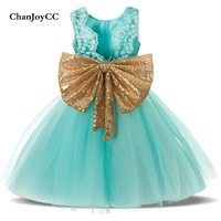 ChanJoyCC Girl S High Quality Sequins Lace Dress Baby Girl With Big Bowknot Kid Sleeveless Princess