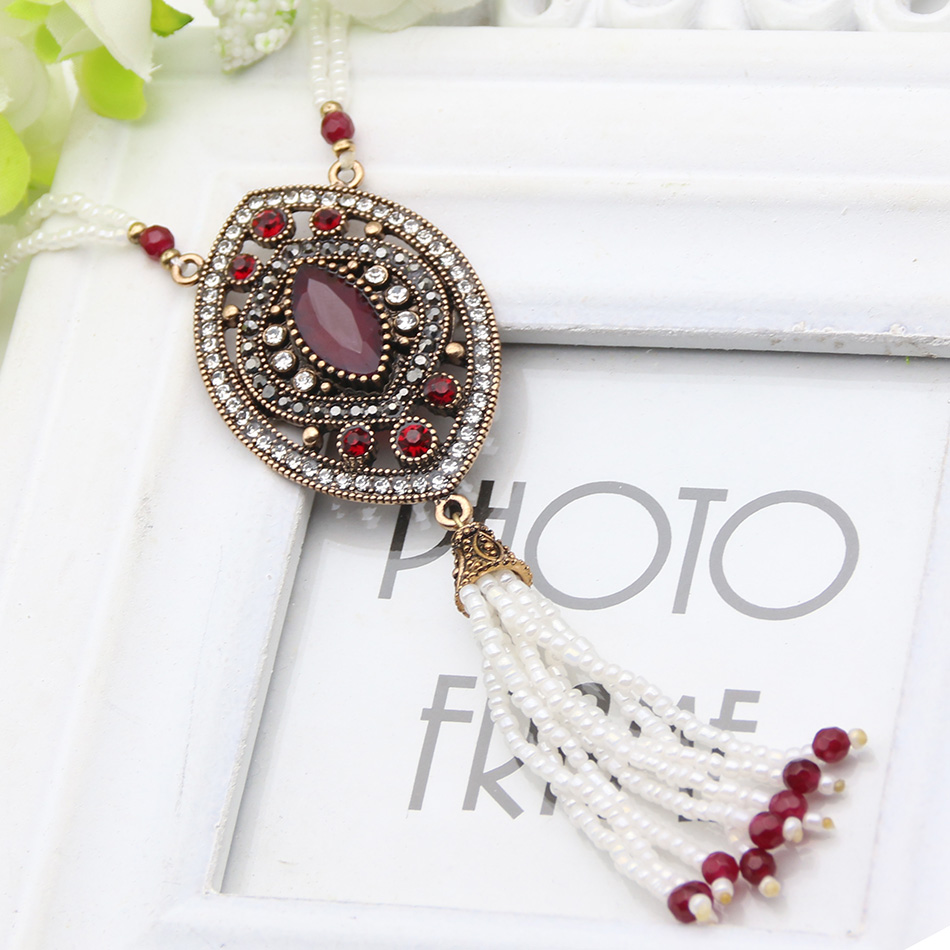 Hot Sale Vintage Turkish Beaded Tassel Women Necklaces -4429