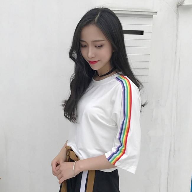 Rainbow Kawaii T Shirts Feminina Korean Summer Women Crop Top Vadim Harajuku Casual Tees Plus Size Stripe Top Off White 2XL