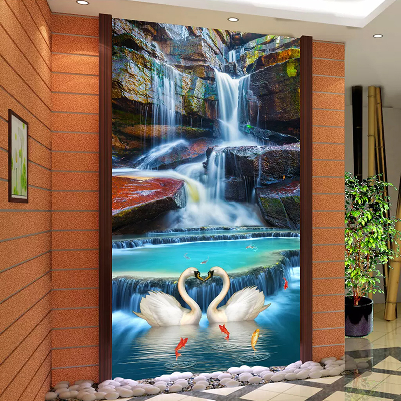 Custom Photo Wallpaper 3D Waterfall Nature Landscape Wall Mural Wallpapers For Living Room Entrance Backdrop Decor Wall Painting