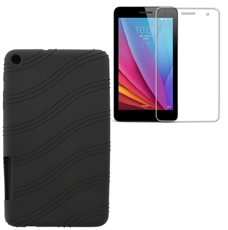 1X Screen Protector , Ultra Slim Luxury Soft Cover Smart Shell Silicone Case For Huawei Mediapad T1 7.0 T1-701U T2-7 BGO-DL09 7