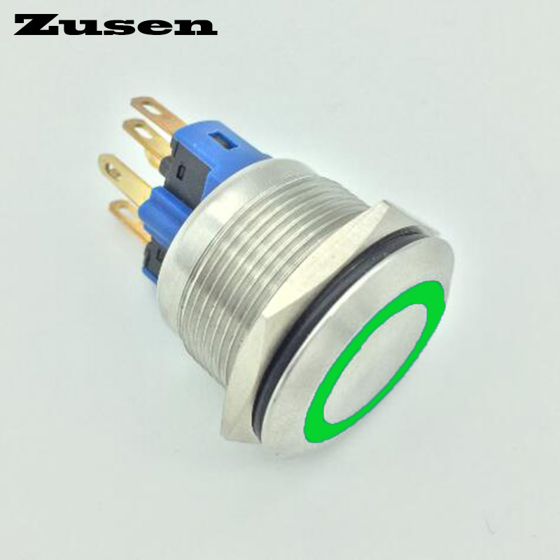 Zusen 22mm stainless steel ring illuminated momentary push button switch(GQ22F-11E/G/12V/S)