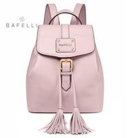 BAFELLI small backpack Genuine Leather drawstring tassel pink mochilas mujer travel bag teenagers girls school backpack women