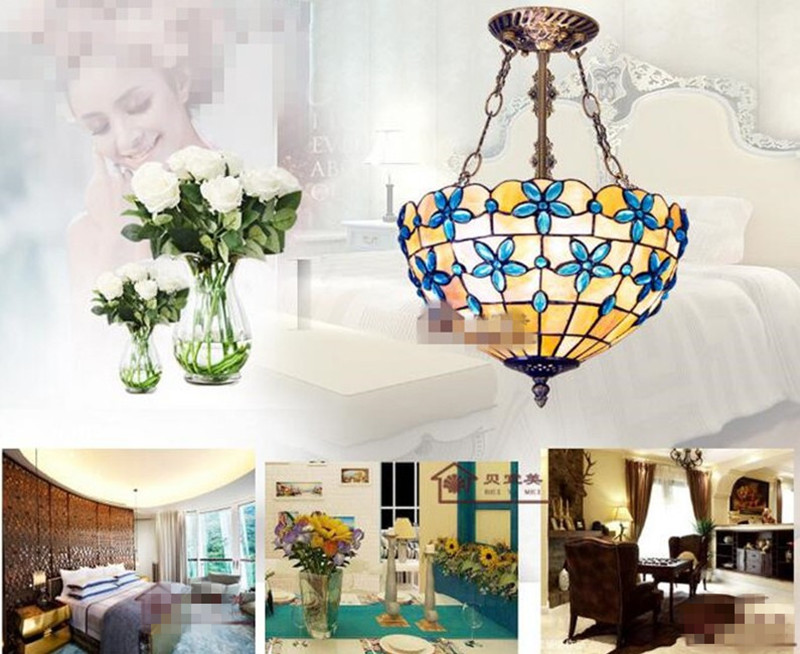 Blauwe Slaapkamer Lamp : Tiffany hanger lampen blauw bloem shell cover woonkamer licht gang