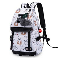 c84e10509fb2 Polyester Adolescent Girl USB Charging Backpack Student Cartoon Emoji  Printing School Bags Women Travel Laptop Schoolbag
