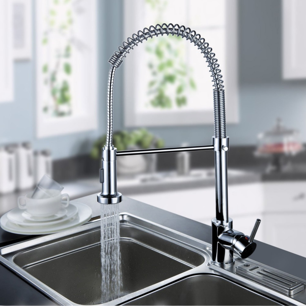 BECOLA Free shipping New Brass Kitchen faucet Pull down tap spray faucets chrome kitchen mixer tap