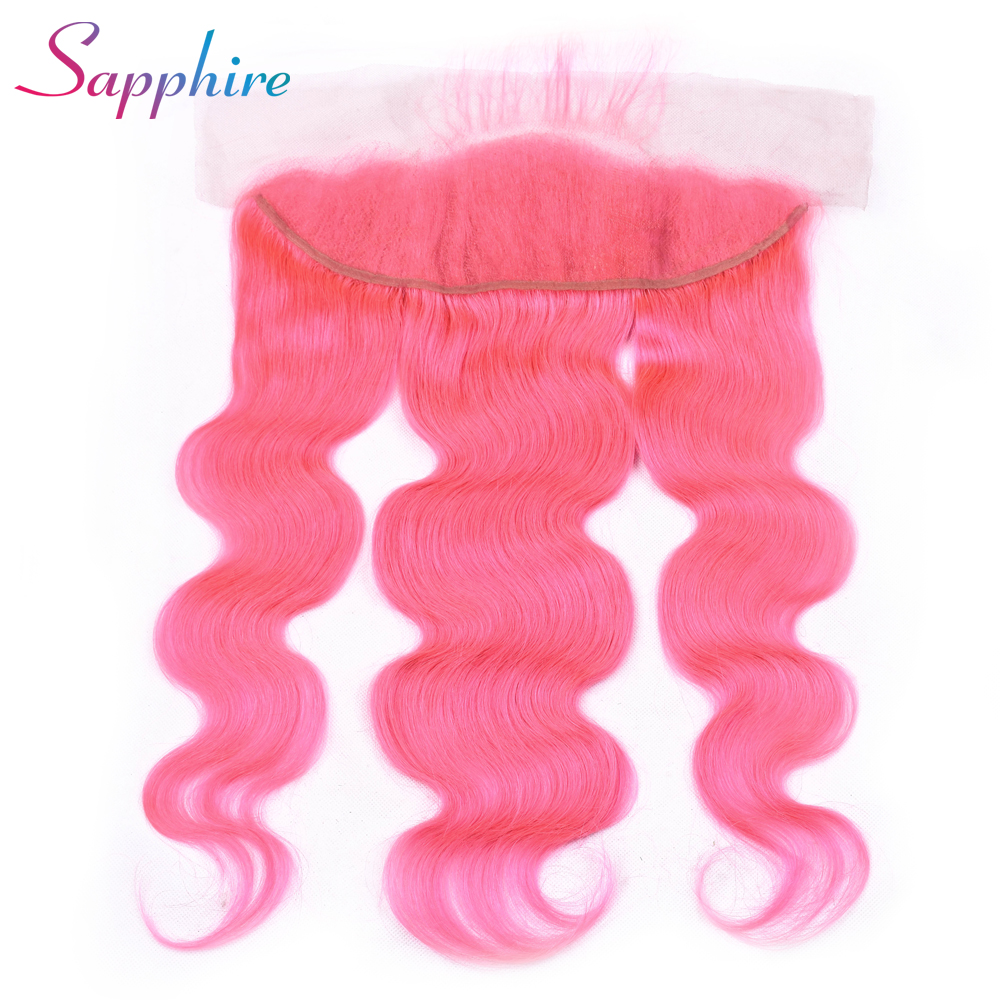 Sapphire Brazilian 13x4 Pre Plucked Ear To Ear Lace Frontal Closure Free Part 100% Remy Human Hair Closures Pink Color