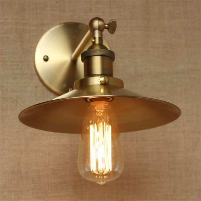 Retro Loft Gold Edison Wall Lamp,Vintage Wall Lights Down Iron Lampshade Wall Sconces E27 Base Industrial Lighting Free Shipping