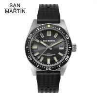 San Martin 62MAS hommes montre automatique en acier inoxydable montre de plongée 200m résistant à l'eau 12 lunette lumineuse Relojes Hombre 2018