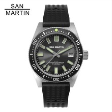 סן מרטין 62MAS גברים אוטומטי שעון נירוסטה שעון צלילה 200m מים עמיד 12 זוהר לוח Relojes Hombre 2018