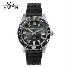 San Martin 62MAS Men นาฬิกาอัตโนมัติสแตนเลสสตีลนาฬิกา 200m กันน้ำ 12 Luminous Bezel Relojes Hombre 2018