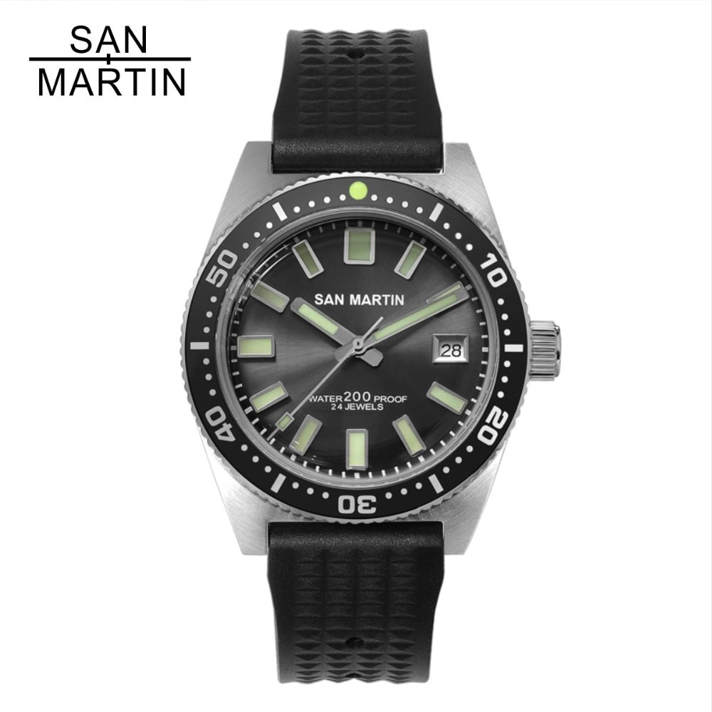 San Martin 62MAS Men Automatic Watch Stainless Steel diving Watch 200m Water Resistant 12 Luminous Bezel Relojes Hombre 2018-in Mechanical Watches from Watches    1
