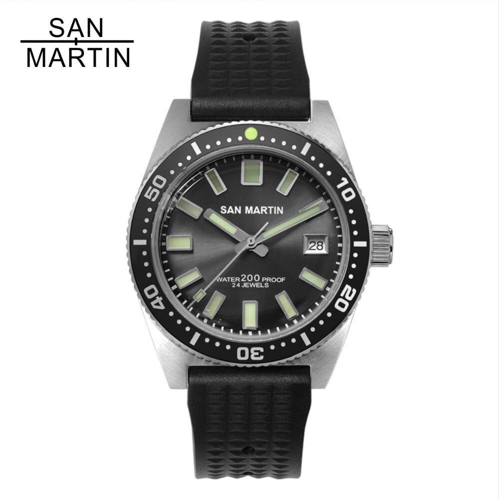 San Martin 62MAS Uomini Orologio Automatico In Acciaio Inox Orologio subacqueo 200 m Water Resistant 12 Luminoso Lunetta Relojes Hombre 2018