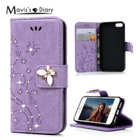MAVISSDIARY 3D Emboss Diamond Stand Wallet Leather Case For IPhone 5 5S SE Crystal Butterfly Button