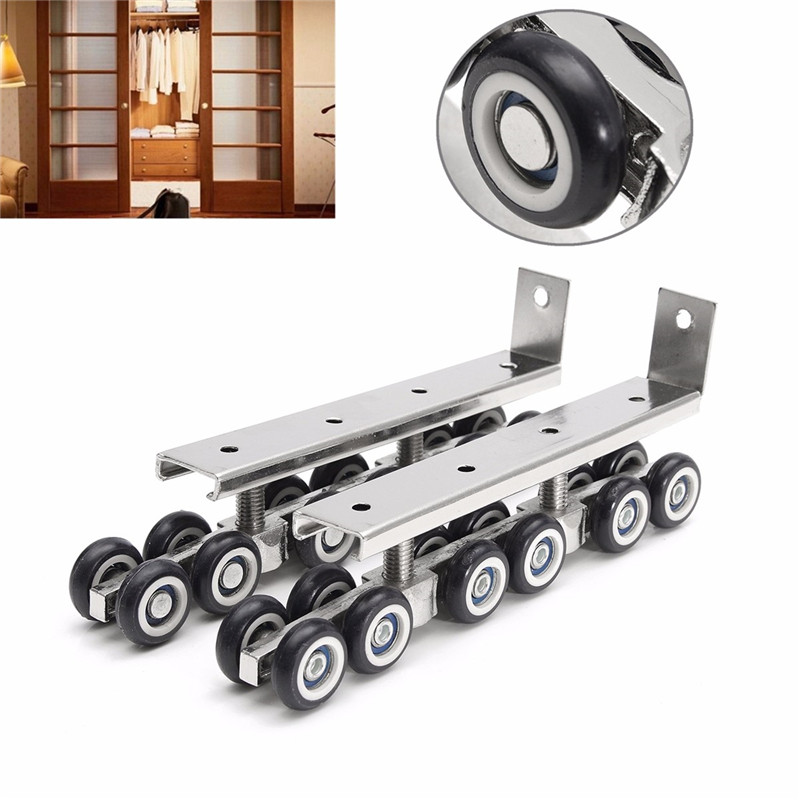 1 Pair Cold Rolled Steel Sliding Wooden Door Closet Hardware Mute Kit Door Wheels Roller 12 Wheels Hangers Roller Furniture