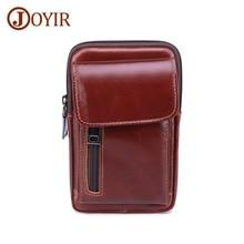 JOYIR Genuine Leather Mens Waist Packs Men New Fashion Fanny Pack Casual Design Belt Bag Vintage Small