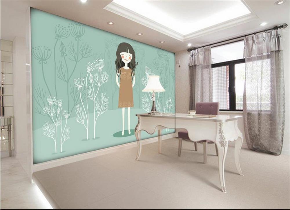 3d wallpaper custom photo wall paper kids 39 room cartoon hand painted girl tree tv sofa bedroom - Behang ingang gang ...
