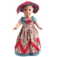 Американская девушка одежды куклы Винтаж платье мадам Александр одетая Кукла Одежда для 18 дюймов Куклы + шляпа t-01