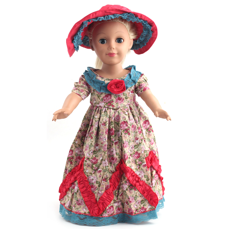 American Girl Doll Clothes Vintage Dress Madame Alexander Dressed Doll Clothes for 18 inch Dolls + Hat T-01 american girl doll clothes halloween witch dress cosplay costume doll clothes for 16 18 inch dolls madame alexander doll mg 256