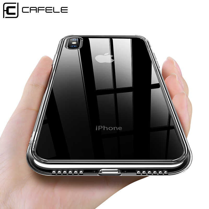Cafele Tempered Glass Phone Case for iPhone XS MAX Glass and TPU Edge Case Clear Cover for New iPhone Xs Max