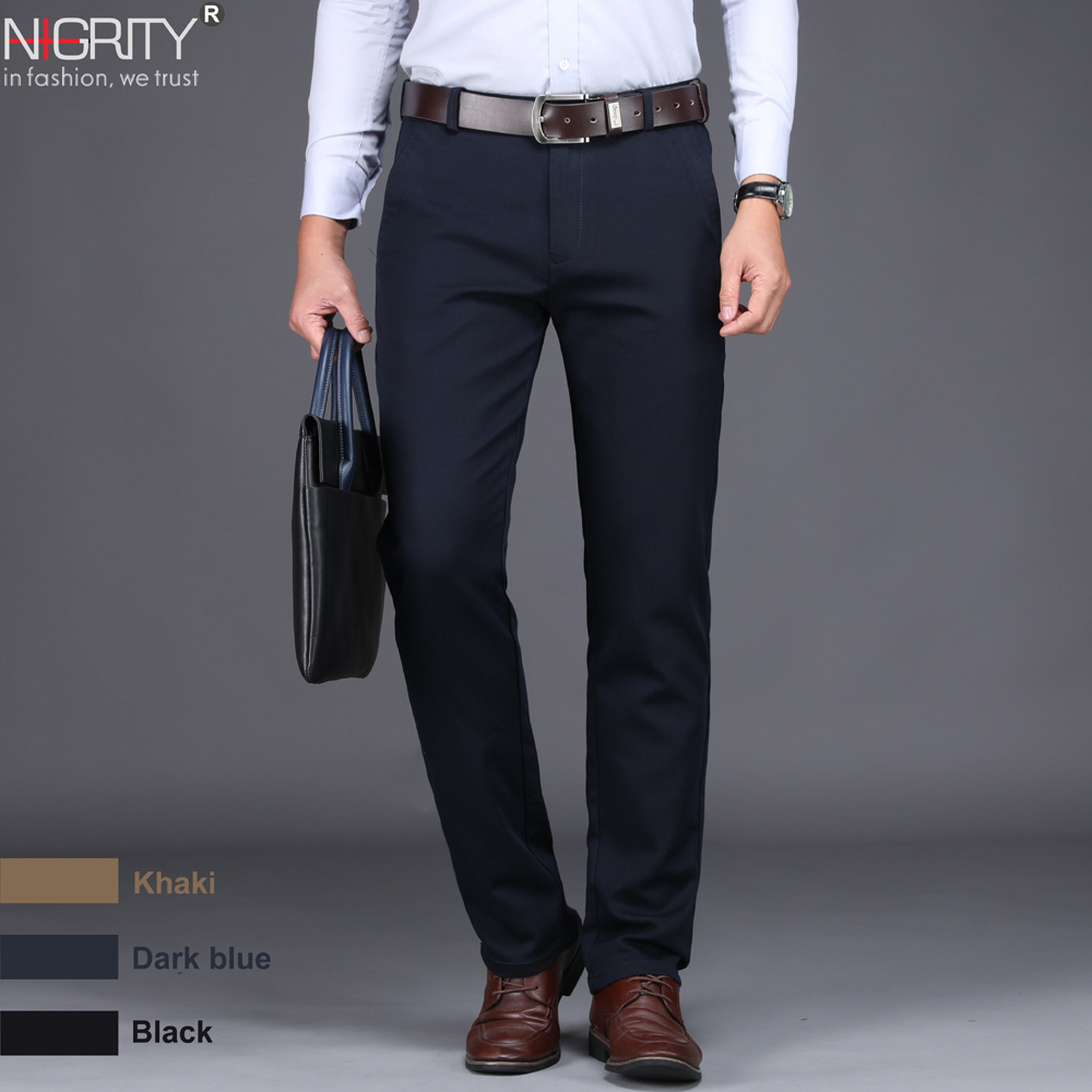 NIGRITY 2019 New Spring Men's Fashion Business Casual long Pants male Elastic Straight formal Trousers plus big Size 28-Size 44