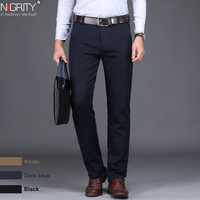 NIGRITY 2019 New Spring Men's Fashion Business Casual long Pants male Elastic Straight formal Trousers plus big Size 28 Size 44
