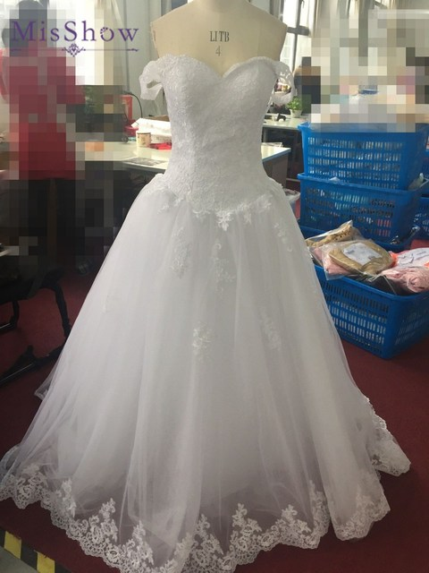2017 Princess Ball Gown Sweetheart Cap Sleeve Lace Bridal Gown White ...