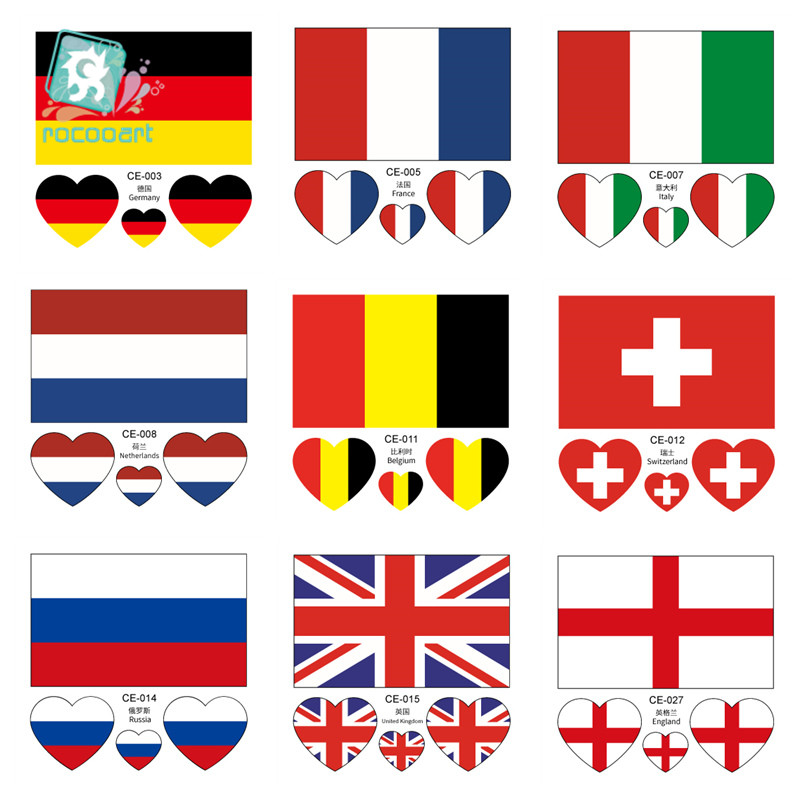 Latest Europe Flag Face Sticker Germany France Italy Belgium England Scotland Netherlands  Sweden National Flag Temporary Tattoo