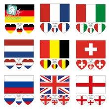 Latest Europe flag face sticker Germany France Italy Belgium England Scotland Netherlands  Sweden national temporary tattoo