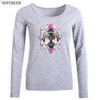 SEPTDEER Harajuku Women S Clothing Autumn Horse Print Long Sleeve Tops Basic T Shirt S 6XL