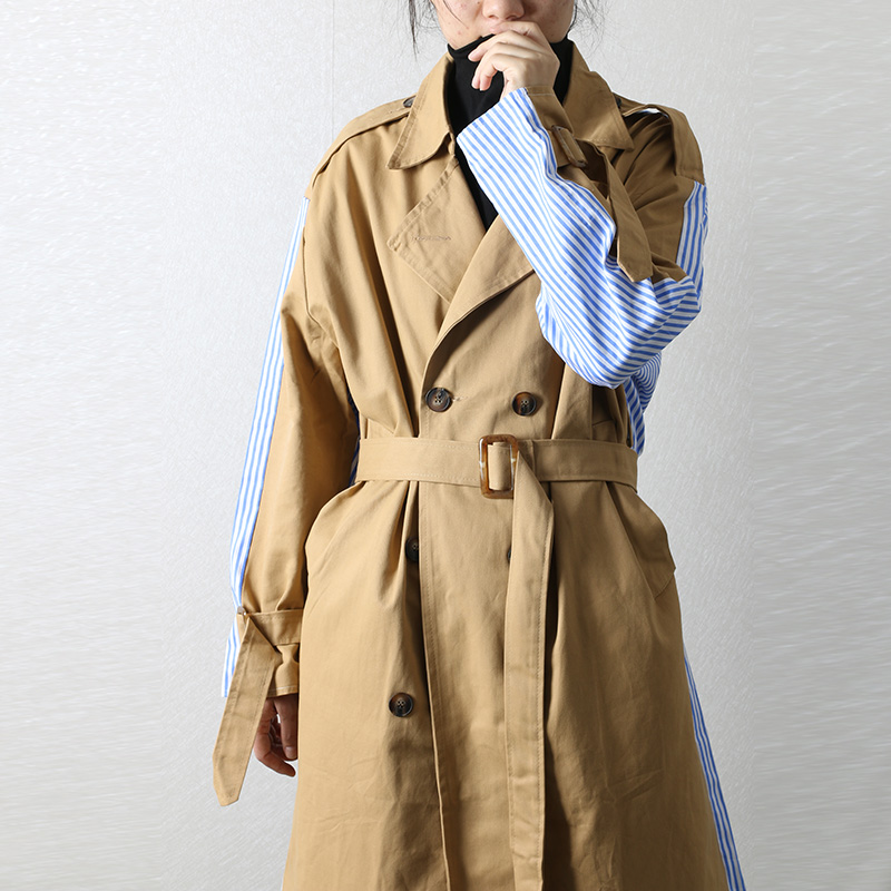 SuperAen New Autumn Trench Coat for Women Stripe Patchwork Windbreaker Woman Office Lady Female Overcoat Cloak Femme Clothes