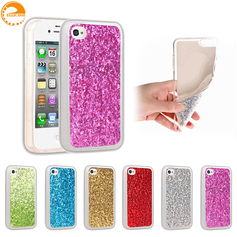 Ellicago Luxury Bling Glitter Case For Coque iPhone 4 4S Case Silicone TPU Back Cover iPhone4 Case For iPhone 4 4S Capa Fundas