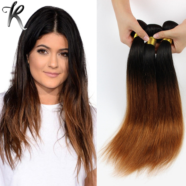4pcs Dip Dye Ombre Hair Extensions Cheap Brazilian Virgin Hair