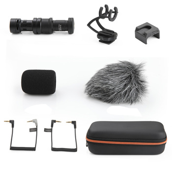 for Osmo Mobile 1/2  Microphone Kit Body +Microphone Damper Stand+Fixed Holder +Cotton+Fixature +Cable+Camera Audio Cable+ Bag