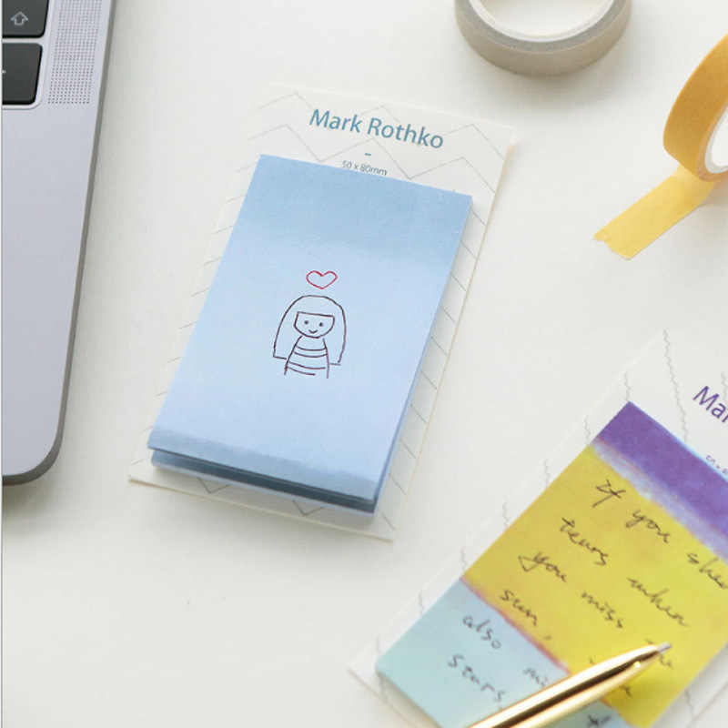 1X Retro color illustration sticky note kawaii Memo Pad stationery School  Supplies Planner Stickers Paper Bookmarks