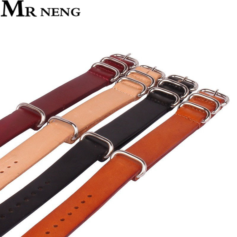 1PCS NATO Leather For Zulu Strap, Genuine Cow Leather Watch band, NATO Straps ,Red Black Brown Watch Strap 18mm 20mm 22mm 24mm