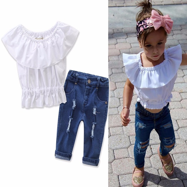 545fe90f04428 2Pcs Baby Girl Kids Summer Clothing Set White Crop Tops Tank Top T shirt  Denim Ripped Jeans Pants Outfit Baby Girl Clothes Set