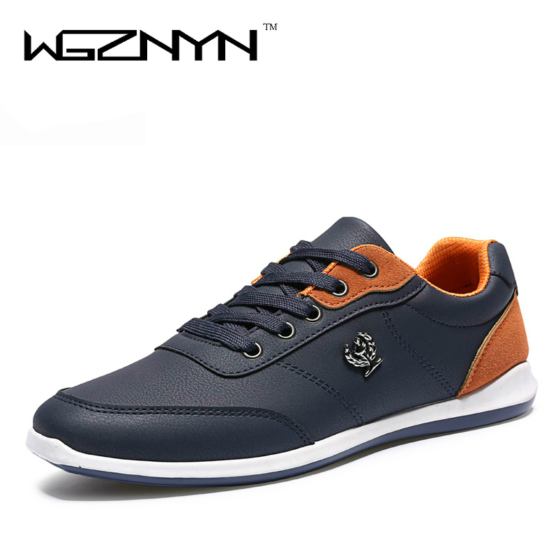 WGZNYN New 2017 Fashion Men Casual Shoes Autumn PU Leather Men Shoes Lace Up Flats Plimsolls Male Footwear NX0405 new 2017 high quality men pu leather flats lace up fashion casual sport jogging flat shoes loafers soft light male footwear