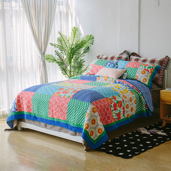 CHAUSUB Patchwork Cotton Quilt Set 3PC Quilts quilted Bed Cover Sheets Including BedSpread*1 Pillowcase*2 King Size Coverlets