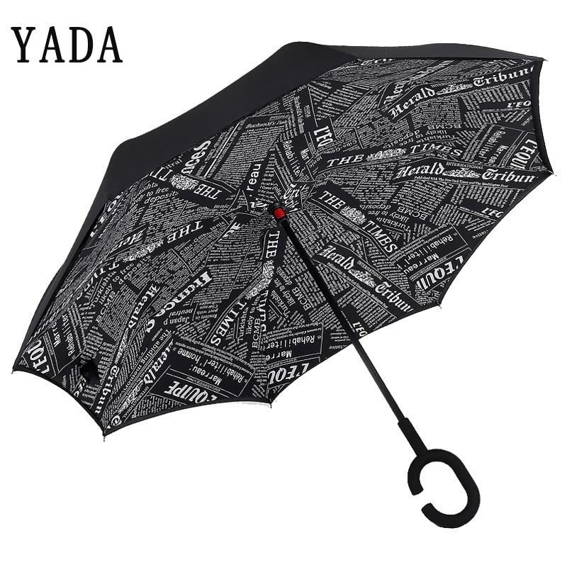 YADA Newspaper Reverse Umbrella Folding For Women Double Layer Inverted Umbrellas Rainproof Parasol Rain Sun Car Umbrella YD089 in Umbrellas from Home Garden