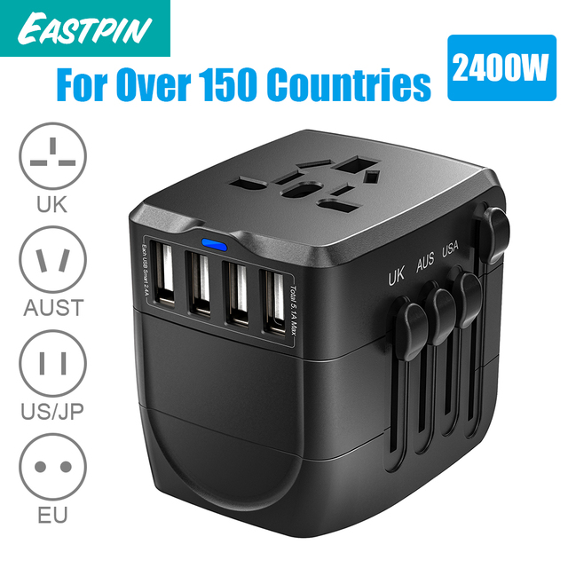 2400 W podróży międzynarodowych zasilacz, uniwersalny zasilacz 4 szybkie ładowanie porty USB 3.0 wielkiej brytanii, ue, AU, z nami, ponad 150 krajów